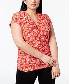 Anne Klein Plus Size Printed Keyhole Top