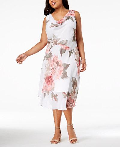 Robbie Bee Plus Size Cowl-Neck Chiffon Dress