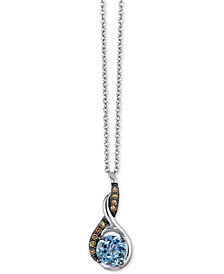"Le Vian Chocolatier® Sea Blue Aquamarine™ (3/4 ct. t.w.) & Diamond Accent 18"" Pendant Necklace in 14k White Gold"