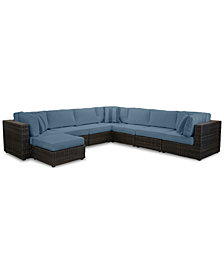 Viewport Outdoor 8-Pc. Modular Seating Set (3 Corner Units, 4 Armless Units and 1 Ottoman),with Custom Sunbrella® Cushions, Created for Macy's