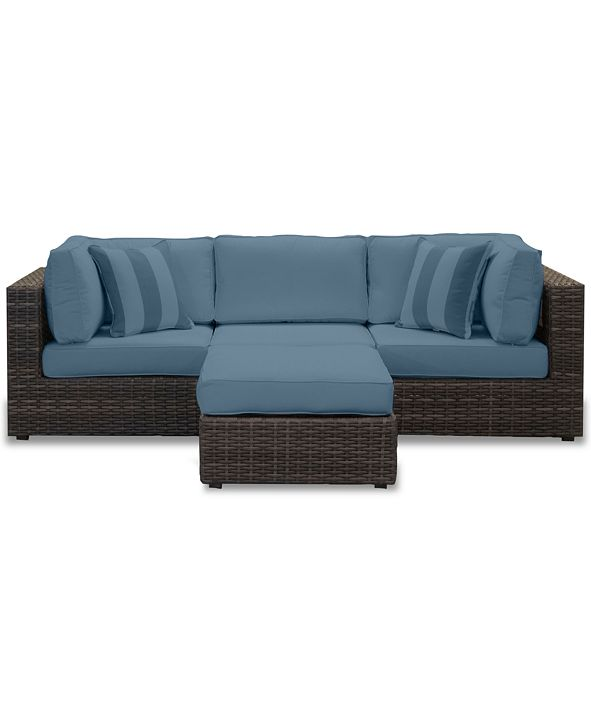 Furniture Viewport Outdoor 4-Pc. Modular Seating Set (2 Corner Units, 1 Armless Unit and 1 Ottoman), with Custom Sunbrella® Cushions, Created for Macy's