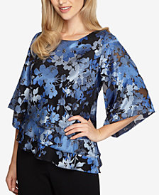 Alex Evenings Jacquard Tiered-Hem Blouse