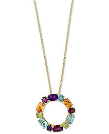 "Mosaic by EFFY® Multi-Gemstone 18"" Pendant Necklace (4-2/3 ct. t.w.) in 14k Gold"