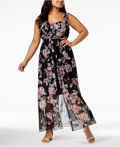 Connected Plus Size Printed Chiffon Split Maxi Dress & Reviews ...