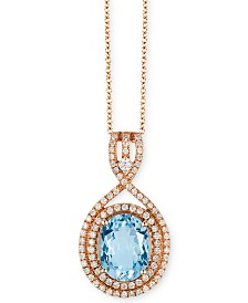 "EFFY® Aquamarine (2-3/8 ct. t.w.) & Diamond (3/8 ct. t.w.) 18"" Pendant Necklace in 14k Rose Gold"