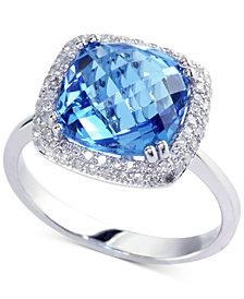 EFFY® Blue Topaz (5-3/4 ct. t.w.) & Diamond (1/4 ct. t.w.) Ring in 14k White Gold