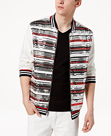 I.N.C. Men's Track Star Sequin Stripe Faux-Leather Bomber Jacket, Created for Macy's