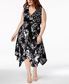 I.N.C. Plus Size Handkerchief-Hem Wrap Dress, Created for Macy's