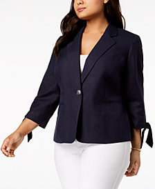 Nine West Plus Size Tie-Sleeve Blazer