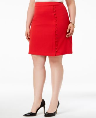 Plus Size Textured Crepe Button Skirt