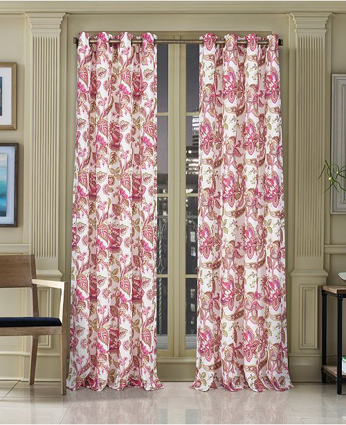 """J Queen New York Pristina 50"""" x 63"""" Floral-Paisley Grommet Curtain Panel"""