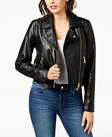 GUESS Jaden Embellished Faux-Leather Moto Jacket