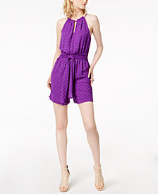 Bar III Swiss Dot Halter Romper, Created for Macy's