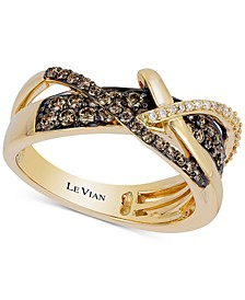 Chocolatier® Gladiator Weave™ Diamond Crisscross Ring (5/8 ct. t.w.) in 14k Gold