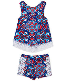 Rare Editions Baby Girls 2-Pc. Paisley-Print Cotton Tank Top & Shorts Set