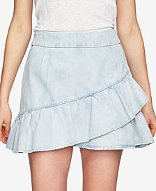 1.STATE Cotton Ruffled Denim Mini Skirt