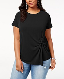 INC Plus Size Twisted Asymmetrical Top, Created for Macy's