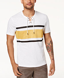 I.N.C. Men's Drawstring Striped T-Shirt, Created for Macys