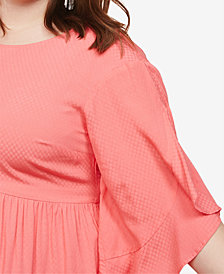 Motherhood Maternity Plus Size Flutter-Sleeve Top