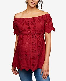 A Pea In The Pod Maternity Embroidered Off-The-Shoulder Top
