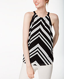 Bar III Printed Sleeveless Top, Created for Macy's