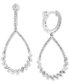 Pavé Classica by EFFY® Diamond Baguette Drop Hoop Earrings (9/10 ct. t.w.) in 14k White Gold