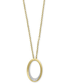 "D'Oro by EFFY® Diamond Pavé Oval 18"" Pendant Necklace (1/5 ct. t.w.) in 14k Gold"