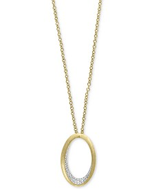 """D'Oro by EFFY® Diamond Pavé Oval 18"""" Pendant Necklace (1/5 ct. t.w.) in 14k Gold"""