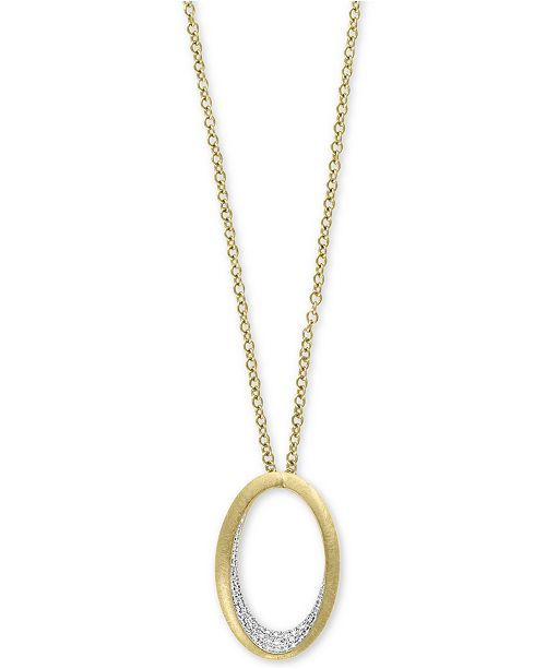 """EFFY Collection D'Oro by EFFY® Diamond Pavé Oval 18"""" Pendant Necklace (1/5 ct. t.w.) in 14k Gold"""