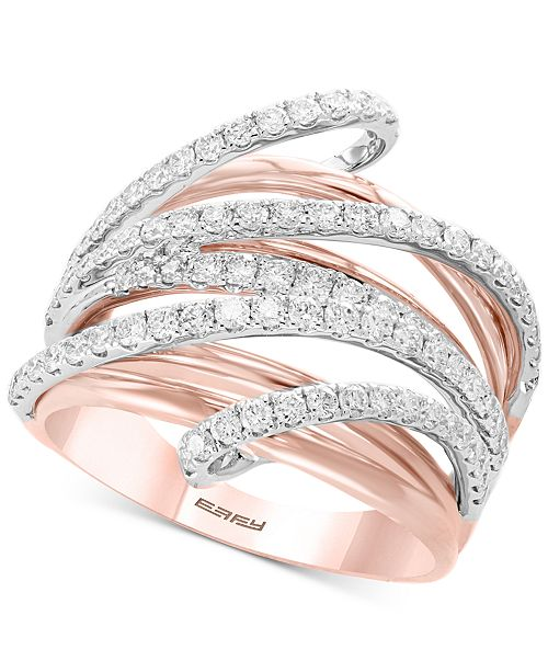 EFFY Collection Pavé Rose by EFFY® Diamond Multi-Row Ring (1-1/8 ct. t.w.) in 14k Rose & White Gold