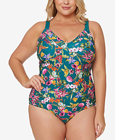 Jessica Simpson Plus Size Printed Corset-Back One-Piece Swimsuit