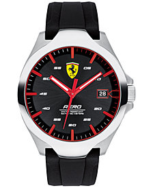 Ferrari Men's Aero Black Silcone Strap Watch 44mm