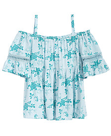 Kandy Kiss Floral-Print Off-The-Shoulder Peasant Top, Big Girls
