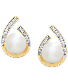 Cultured Freshwater Pearl (8 mm) & Diamond Accent Drop Earrings in 14k Gold