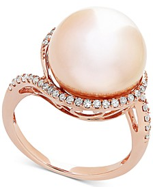 Pink Cultured Freshwater Ming Pearl (13mm) & Diamond (1/4 ct. t.w.) Ring in 14k Rose Gold