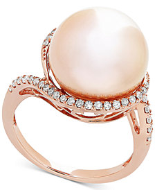 Honora Pink Cultured Freshwater Ming Pearl (13mm) & Diamond (1/4 ct. t.w.) Ring in 14k Rose Gold