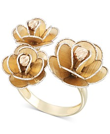 Tri-Colour Flower Ring in 14k Gold, White Gold & Rose Gold