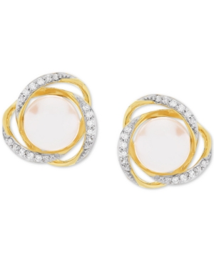 Honora Cultured Freshwater Pearl (7mm) & Diamond (1/8 ct. t.w.) Stud Earrings in 14k Gold