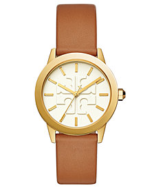 Tory Burch Women's Gigi Luggage Leather Strap Watch 36mm