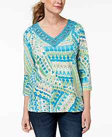 Alfred Dunner Scottsdale Crochet-Trim Top