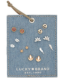 Lucky Brand Two-Tone 7-Pc. Set Multi-Stone Stud Earrings, Created for Macy's