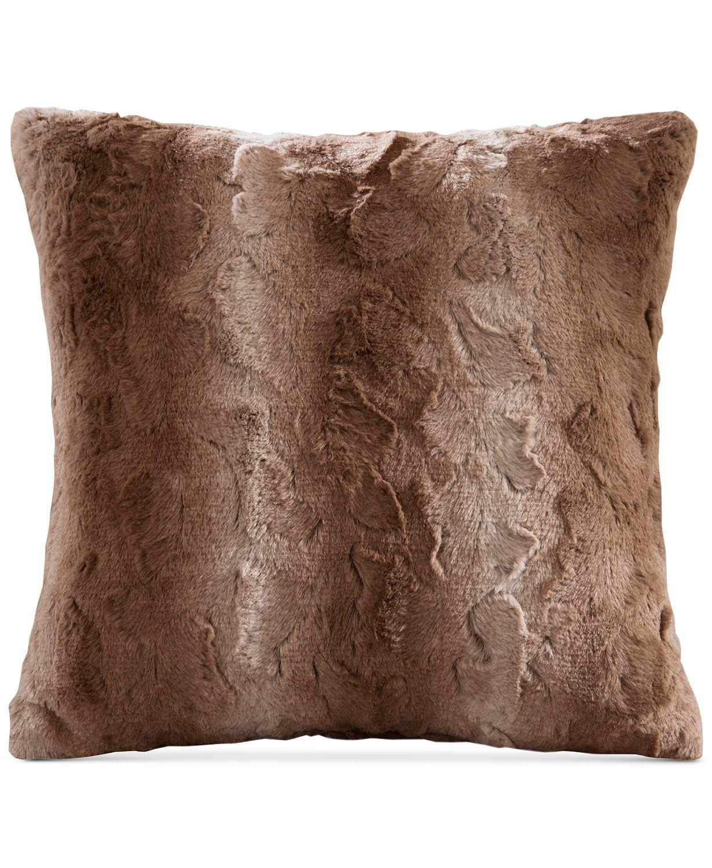 """6. Madison Park Zuri Faux-Fur 20"""" Square Decorative Pillow"""