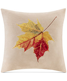 """Madison Park Faux-Suede Leaf Embroidered 20"""" Square Decorative Pillow"""