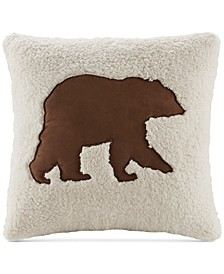 """Hadley Plaid 18"""" Square Faux-Suede Appliqué Berber Decorative Pillow"""