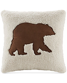 "Woolrich Hadley Plaid 18"" Square Faux-Suede Appliqué Berber Decorative Pillow"