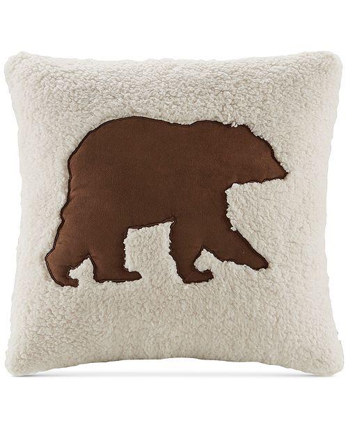 """Woolrich Hadley Plaid 18"""" Square Faux-Suede Appliqué Berber Decorative Pillow"""