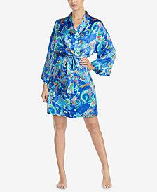 Lauren Ralph Lauren Satin Printed Kimono Wrap