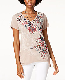 Style & Co Petite Floral Graphic Top, Created for Macy's
