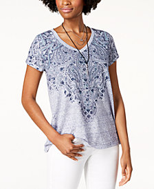 Style & Co Graphic V-Neck T-Shirt, Created for Macy's