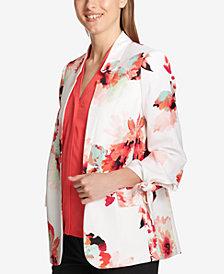 Calvin Klein Printed Tie-Sleeve Blazer, Regular & Petite